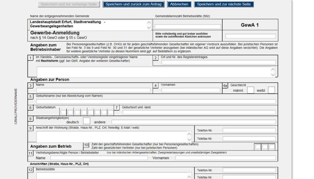 Gewerbe فرم ثبت شرکت در آلمان گوربه